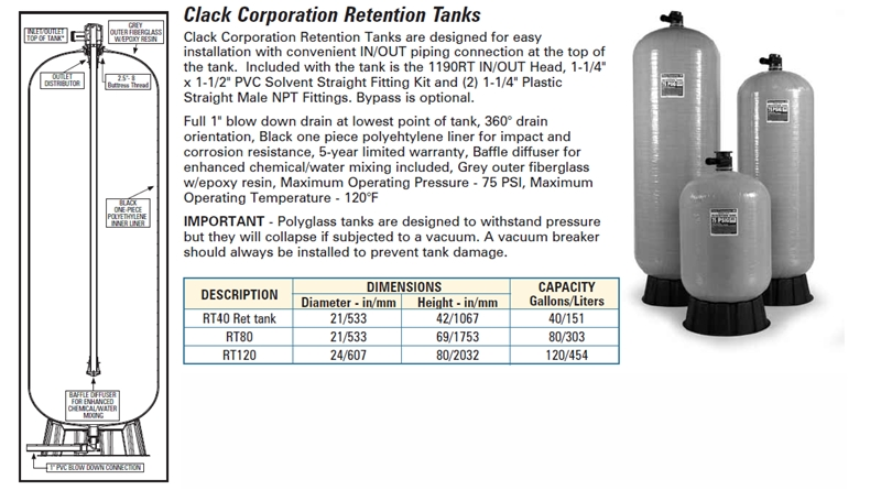 <b>Retention Tank Specs & Cut-Away</b>